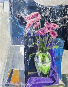"""""""Pink Flowers"""" by Alma Redlinger inspiration for Oil on Canvas I Silk on Skin by Andreea Buga - Forbes. How To Make Oil, Painting Inspiration, Flower Art, Still Life, Pink Flowers, Oil On Canvas, Glass Vase, Flower Paintings, Artists"""