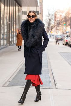70 Looks From The Fashion Olympics #refinery29 http://www.refinery29.com/ny-fashion-week-street-style#slide4 Olivia Palermo puts her hemline to work. Sharon Wauchob Fur-Collar Coat, $2,480.71, available at Farfetch.