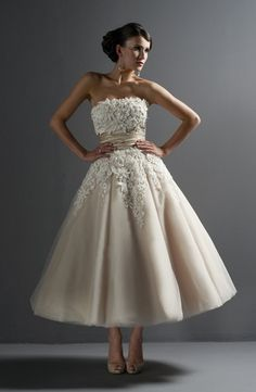 Tea length gowns are a great choice to add some spunk to your bridal look and show off your gorgeous heels