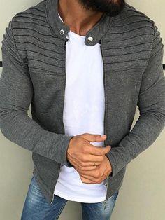 1071a205b41 Stand Collar Slim Short Men s Hoodie Jacket  Mensoutfits Latest Mens  Fashion