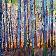 Dittebrandt - River Trees Verson 2 Right Forest Painting, Abstract Nature, Abstract Landscape Painting, Oil Painting On Canvas, Landscape Art, Landscape Paintings, Watercolor Paintings, Abstract Art, Abstract Trees