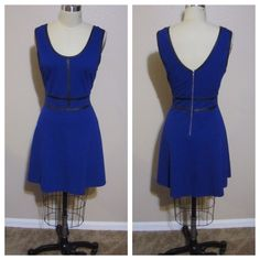Cobalt Blue Faux Leather Fit And Flare