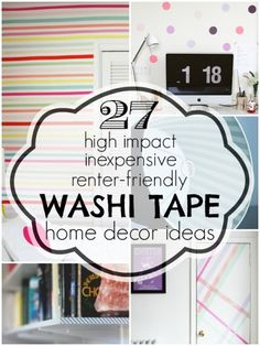 Japanese paper tape is inexpensive and comes in a variety of colors and patterns. Get some renter-friendly washi tape home decor ideas to jazz up your home. Diy Masking Tape, Washi Tape Crafts, Do It Yourself Inspiration, Decor Inspiration, Decor Ideas, Tapas, Kitchen Decorating, Interior Decorating, Decorating Tips