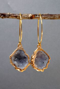 Grey Druzy and Gold. These are gorgeous!