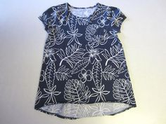 Lands End Shirt M Medium 10/12 SS Short Sleeve Blue White High Low Girl #LandsEnd