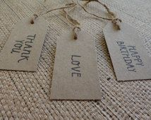 Natural Brown Kraft Bomboniere Tags- Stamped