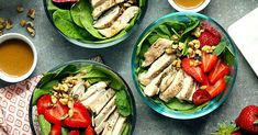 Get your nutrients in and say goodbye to wimpy salads with these satisfying spinach salad recipes. Each recipe has at least 15 grams of protein per serving, so they will help keep you full for … Spinach Salad Recipes, Spinach Strawberry Salad, Heart Healthy Recipes, Healthy Salad Recipes, Diabetic Recipes, Lunch Recipes, Healthy Choices, Yummy Recipes, Recipies