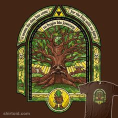 Great Deku Tree | Shirtoid #coryfreeman #gaming #greatdekutree #link #stainedglasswindow #thelegendofzelda #triforce #videogame