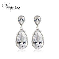 Elegant Teardrop Shape Cubic Zirconia Crystal Jewelry Bridal Wedding Earrings