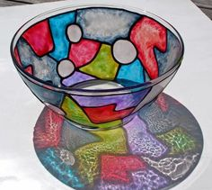Big Funky Stained Glass Bowl detail image Angled VIew Shows Colorful Shadows