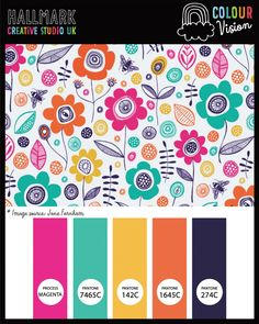 A bright colour palette (inspired by illustrator Jane Farnham) see it at hallmark-creative.co.uk