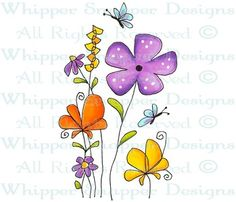 Spring is Here! - Whimsical - Floral/Garden - Rubber Stamps