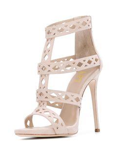 #FSJshoes - #FSJ Shoes Beige T Strap Sandals Hollow out Open Toe Stiletto Heels - AdoreWe.com