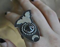 "Black Bat Ring - ""Paper Bats and Shadows"", Size 8"