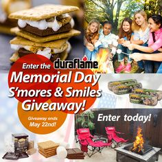 Enter the duraflame® Memorial Day S'mores & Smiles Giveaway for a chance to win everything you need for a perfect Memorial Day weekend.  Prize package includes duraflame® Campfire Roasting Logs, a brand new fire pit, a s'mores kit, and 2 outdoor fireside chairs!  Click on link in our bio to enter now.  Giveaway ends 5/22.