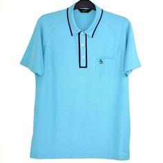 Penguin Mens Shirt Polo L Pima Cotton Short Sleeve Pocket Classic Blue Tipped #OriginalPenguin #PoloRugby