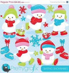 80% OFF SALE Ice skating snowmen clipart by Prettygrafikdesign #christmasclipart