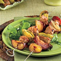These sweet, smoky kabobs caramelize to perfection on the grill. Juicy plums and tomatoes, crunchy red onions, and chunks of pork will create a myriad of flavor combinations. Use green zebra tomatoes, an heirloom most available in the summer, as a specialty ingredient for this dish.Recipe:Molasses-Balsamic Pork Kabobs With Green Tomatoes and Plums