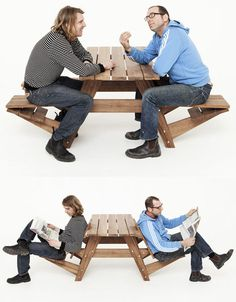 Reversible Picnic-Table Seats Flip Out into 4 Lounge Chairs (wonder if you can only have one person sitting in lounge without being inbalanced??)...great idea