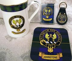 Scottish Gifts: Johnstone Family Clan Crest Mug, Coaster, Magnet & Keyring | eBay