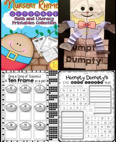 NURSERY RHYMES: Over 100 pages of Kindergarten Math  Literacy Activities in a fun nursery rhyme theme. $