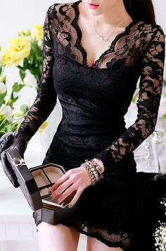 Seductive Lace Hugging Dress <3 #lbd