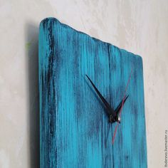 Купить Часы интерьерные бирюзовые - часы, время, бирюзовый, голубой, скандинавский стиль, дерево, дерево Living Room Clocks, Kitchen Wall Clocks, Handmade Clocks, Retro Clock, Wall Clock Design, Wood Scraps, Diy Clock, Wood Clocks, Grandfather Clock