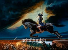 """#SikhArt At the Battle of Chumkaur, Baba Jujhur Singh watched his brother Baba Ajit Singh attain Shaheedi. He desired to fight in the battlefield as well, though doing so meant certain death. He asked his father, Guru Gobind Singh, """"Guru Sahib, permit me, dear father, to go where my brother has gone. Don't say that I am too young. I am your son. I am a Singh, a Lion, of yours. I shall die fighting, with my face towards the enemy, with the Naam on my lips and the Guru in my heart."""""""