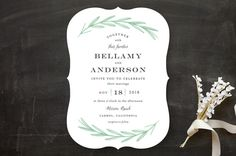 """""""Painted Leaves"""" - Rustic, Classical Wedding Invitations in Evergreen by Olivia Raufman."""
