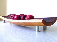 mid century modern serving tray bowl platter. repurposed wine barrel. eco friendly gift. French oak cutting board. $190.00, via Etsy.