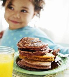 Rainbow Pancakes - Blend fruits and vegetables into the batter to make different colors.  Try carrots, mangoes, blackberries, or raspberries. Follow pancake instructions, subbing pureed fruit or veggies for water and milk. (Mix 1 tablespoon water with batter until you reach the desired consistency.) If using carrots, peel and slice about 2/3 cup, then steam or boil for about 20 minutes.