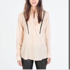 Zara - Peach/Light Pink Top Long-sleeve tuxedo top from Zara. Great blouse with black piping to flatter the body. Great condition. Only reasonable offers will be considered. Please no low balling. ❌No trading and ❌no PayPal. Zara Tops