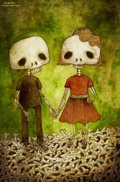 "Berk Öztürk, ""Skeleton Love"", Illustration, Pencil, Watercolor, 2005"