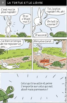 Fable d'Esope en BD - LA TORTUE ET LE LIEVRE French Class, French Lessons, English Lessons, Learn English, Fables D'esope, French Worksheets, Language And Literature, Baby Education, Teaching French
