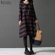 2017 ZANZEA Vintage Womens Striped Crew Neck Long Sleeve Autumn Casual Party Loose Long Shirt Dress Vestido Plus Size #Affiliate