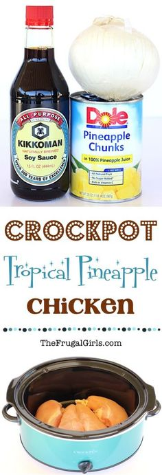 Crock Pot Tropical Pineapple Chicken Recipe from bring a taste of the tropics to your dinner table with just 4 easy ingredients This easy Crockpot meal is so simple and. Crock Pot Food, Crock Pot Slow Cooker, Slow Cooker Recipes, Crockpot Recipes, Cooking Recipes, Crock Pots, Pineapple Chicken Recipes, Hawaiian Chicken, Gastronomia