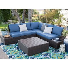 Belham Living Luciana Bay All-Weather Wicker Loveseats with Cushions   from hayneedle.com  $1700, no sunbrella fab, does come in blue, for upper deck by office or possibly by grill seating area.