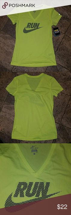 Nike Dri-Fit V-neck Nike Dri-Fit V-neck tee in a bright yellow color, size small Nike Tops