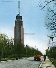 """София, телевизионната кула на """"алея Яворов"""" (днес бул. Пейо Яворов), началото на 60-те години на ХХ век"""