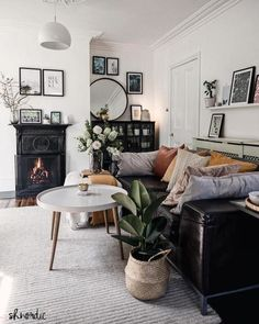 modern living room decor with black fireplace and black . mid-century modern living room decor with black fireplace and black . mid-century modern living room decor with black fireplace and black . Narrow Living Room, Narrow Rooms, Tiny Living Rooms, Mid Century Modern Living Room, Eclectic Living Room, Boho Living Room, Living Room Designs, Cozy Living, Cosy Living Room Small