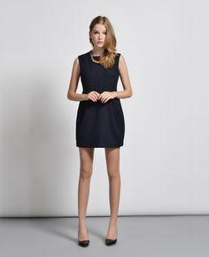 Refined Sleeveless Narrow Waist Navy Vest Dress | BlackFive