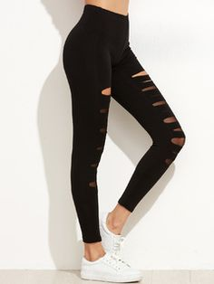 Online shopping for Black Ripped Mesh Insert Leggings from a great selection of women's fashion clothing & more at MakeMeChic.COM.