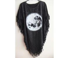 Moon fashion punk hippie batwing tussle fringes stone wash poncho dresses 6