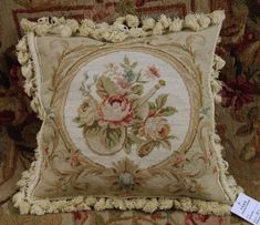 """Cushion Cover with Tassels 14"""" X 14"""" Wool Needlepoint Yellow Floral Pillow"""