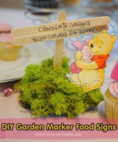 Director Jewels: DIY Winnie the Pooh Birthday Party Garden Marker Food Signs   Addie's Tea for 2 with Winnie the Pooh Party   directorjewels.com