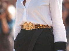 Christine Centenera - Celine sunglasses, Preen shirt, Tiffany necklaces, Balmain belt, Josh Goot skirt, Chanel stirrups - Milan Fashion Week, Spring 2014
