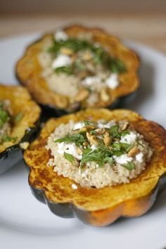 stuffed squash with brown rice, cilantro, feta, and pistachios.....