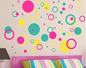 Children Decor Rings & Circles Wall Decals -  Nursery Wall Art - Childrens Wall Decal - Kids Vinyl Wall Lettering