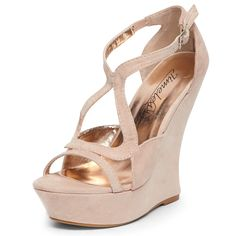 Nude suedette curved wedges  Price: £50.00