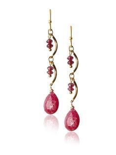 "Wendy Mink Jewelry Asymmetric Drop Earrings, Gold/Multi-Stones Sterling silver drop earrings, 18K gold plating, asymmetrical design, Ruby, GarnetDimensions: height 1.5"", width 0.25""Backfinding: Shepherds HookCountry of origin: United States"
